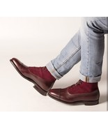 Men cap toe Two tone Leather ankle high boots, Men Burgundy Lace up ankl... - $179.99