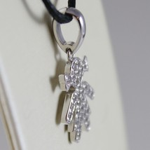 18K WHITE GOLD GIRL PENDANT, BABY, LENGTH 0.83 INCHES, ZIRCONIA, MADE IN ITALY image 2