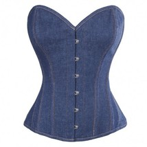 Women's Blue Denim Gothic Steampunk Bustier Waist Training  Overbust Cor... - $51.72
