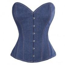 Women's Blue Denim Gothic Steampunk Bustier Waist Training  Overbust Cor... - $51.72