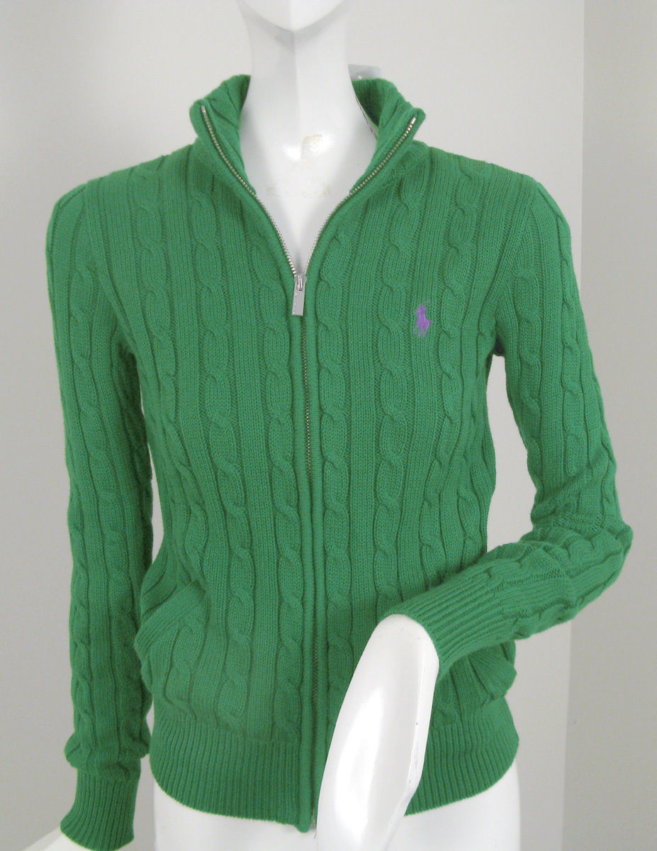 NEW Polo Ralph Lauren Cable Knit Womens Cardigan Sweater!  Polo Player on Chest - $64.99