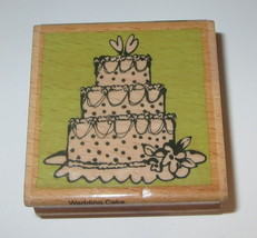 "Wedding Cake Rubber Stamp Hearts Flowers 2"" Wood Mounted Marriage  - $2.96"