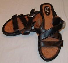 B.O.C. Born Concept BOC Black Leather Slip On Sandals Womens 10 42 Slides - $41.46