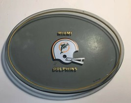 """1960's Miami Dolphins Houze Art Smoked Glass Plate 8"""" Candy Dish NFL Football - $37.36"""