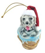 Dog in a Bucket Christmas Tree Ornament with Gold String Hangar. - $5.89