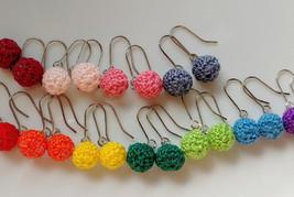Crochet Dangle Ball Earrings / Ball Drop Earrings / Dangle Ball Earrings - $10.00