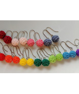 Crochet Dangle Ball Earrings / Ball Drop Earrings / Dangle Ball Earrings - $10.00
