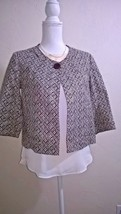 TALBOTS Career Jacket Cropped Brown Cream Geometric Print 1 Button 3/4 S... - $15.99