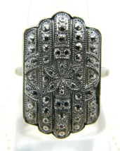 Marcasite Silver Tone Art Deco Style Ring Size 7.25 Vintage - $29.69