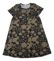 LulaRoe Brown Black Floral T Shirt Dress Size Medium Front Pocket - $12.59