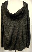 DANA BUCHMAN Black Drape Neck Gold Metallic Lurex Top Long Sleeves Dress... - $19.59
