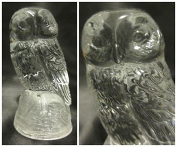 Clear Glass Owl Frosted Perched Home Office Decor Collector Gift Figure ... - $12.84