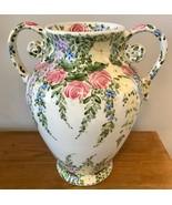 "Tabletops Unlimited English Garden 16"" Tall Vase Handled Urn Handpainted... - $121.54"
