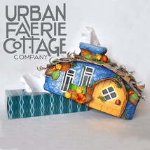 Fairy House tissue box cover, Pagan Decor, fairy cottage, gift for anniversary - $100.00