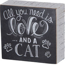 """All You Need is Love . and a Cat Box Sign Primitives by Kathy 4.5"""" x 4.2... - $11.50"""