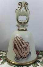Homco Praying Hands Bell Porcelain Religious Jesus Christian Vintage 80s - $17.79