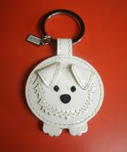 Coach Leather White Sheepdog Patent Leather Fur Tail 93080 Rare HTF  - $99.00