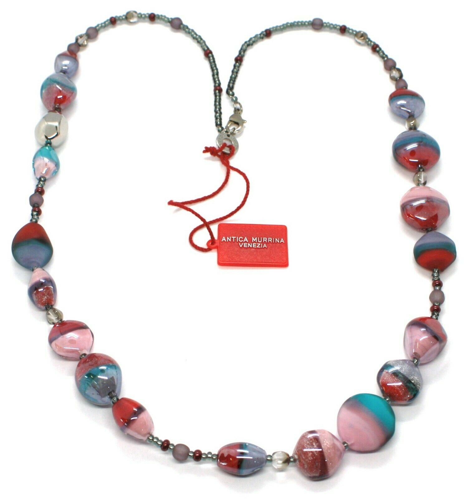 Necklace Antique Murrina, CO979A04, 80 cm, Red Light Blue Pink, Effect Sand