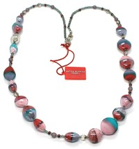Necklace Antique Murrina, CO979A04, 80 cm, Red Light Blue Pink, Effect Sand image 1