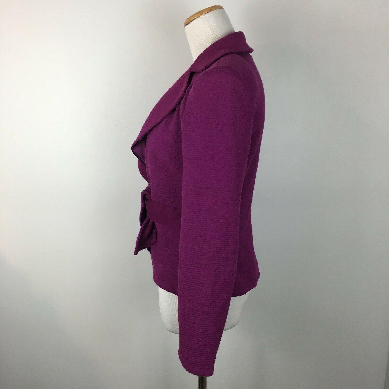 Armani Collezioni Women's Purple Knit Soft Tie Front Blazer Jacket Size 6