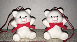 Two Vintage MIDWEST Ceramic Miniature White Teddy Bear Christmas Ornaments - $6.00