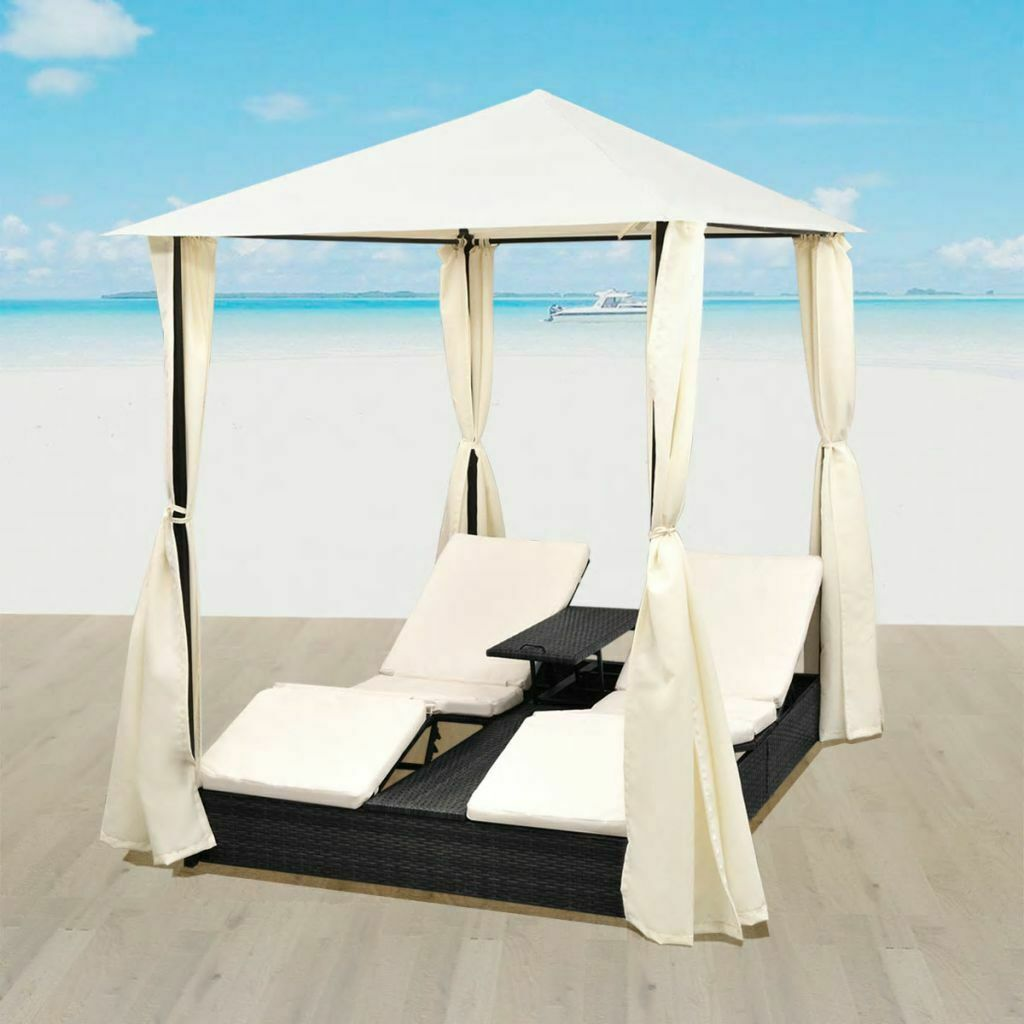 vidaXL Outdoor Daybed 2-Person Rattan Wicker w/ Curtain Patio Sunlounger Black