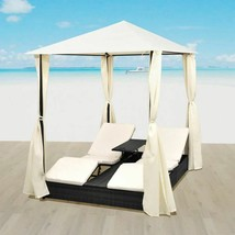 vidaXL Outdoor Daybed 2-Person Rattan Wicker w/ Curtain Patio Sunlounger... - $653.99