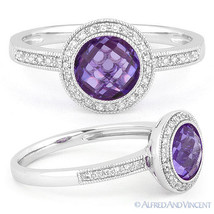 1.50ct Checkerboard Amethyst Round Cut Diamond Halo Ring 14k White Gold ... - €458,48 EUR