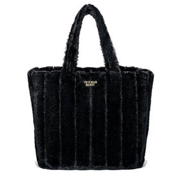 VICTORIAS SECRET TOTE  BAG - FAUX FUR CARRYALL- LIMITED EDITION