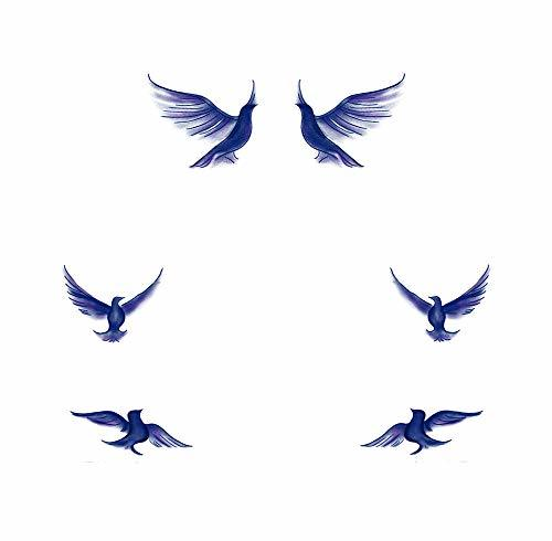 8 Sheets Blue Seagull Temporary Tattoos Stickers Body Art Decals for Costume Par