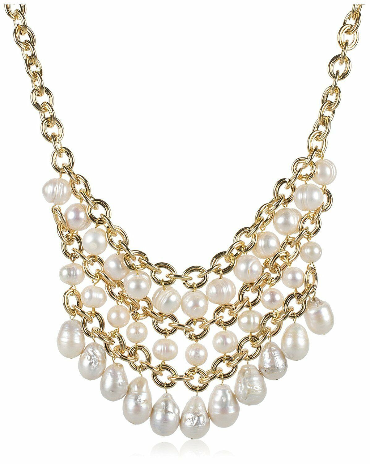 """Jardin Gold Plated Three-Tiered Simulated Pearl 25"""" Bib Necklace NWT"""