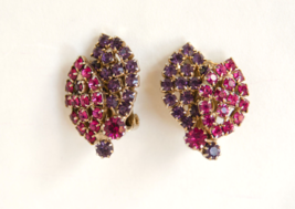 Weiss vintage rhinestone earrings pink purple leaf leaves clip-on - $7.99