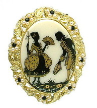 Vintage 70s Brooch White Glass Gold & Black Silhouette Courting Couple P... - $14.95