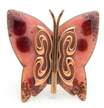 VTG MATISSE RENOIR Signed Pink Red Enamel Copper Butterfly Brooch Pin - $173.25