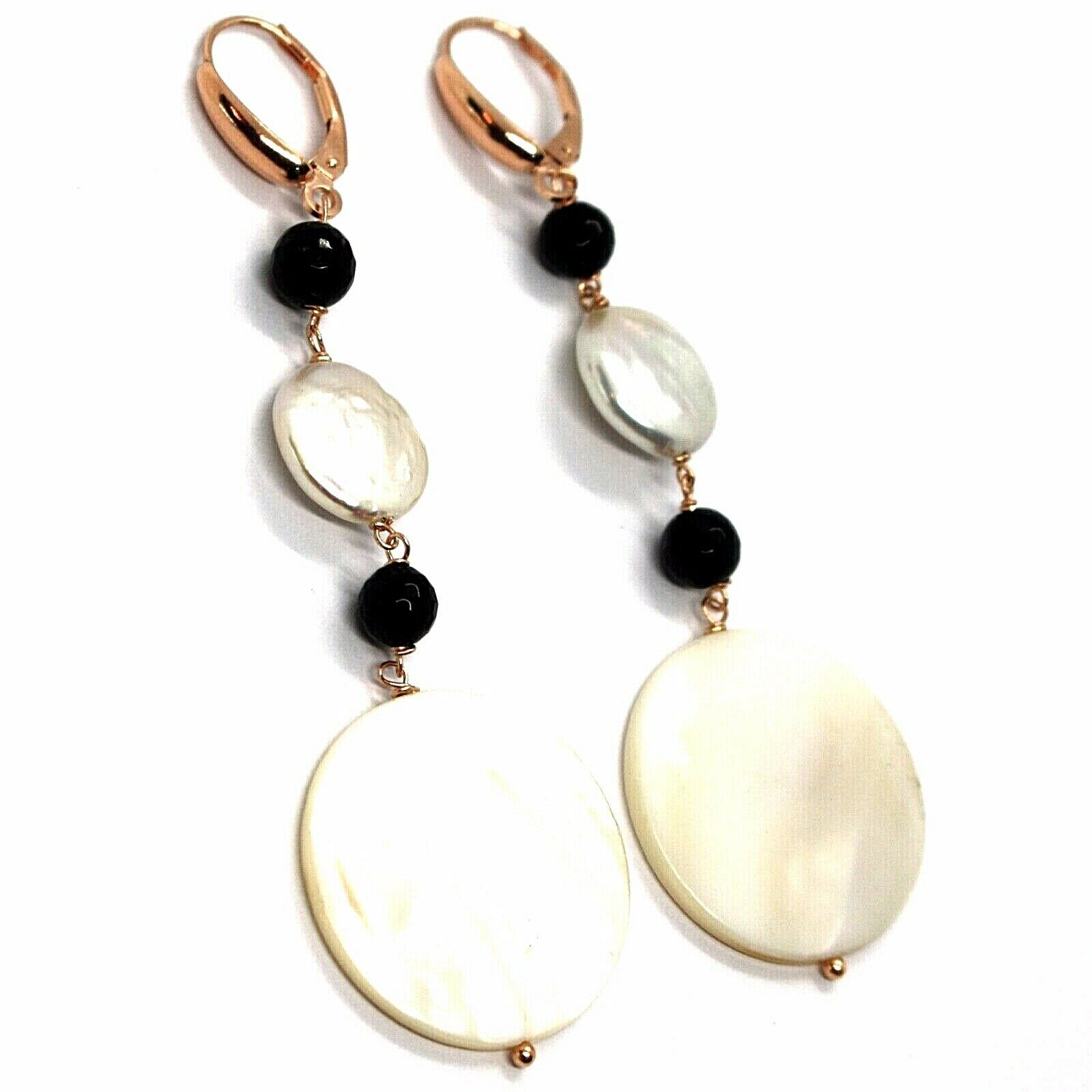 18K ROSE GOLD PENDANT EARRINGS, MOTHER OF PEARL DISC, ONYX, 3.1 INCHES LENGTH