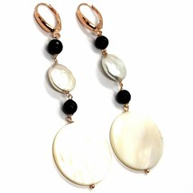 18K ROSE GOLD PENDANT EARRINGS, MOTHER OF PEARL DISC, ONYX, 3.1 INCHES LENGTH image 1