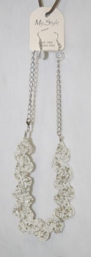 My Style White Clear Faceted Round Bead Earring Beaded 2 Strand Braid Necklace