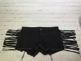Forever 21 Womens Size 25 Black Festival Fringe Frayed Denim Jean Shorts Cutoffs - $18.55