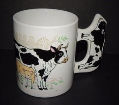 Cow & Calf Coffee Tea Mug with Cow Handle White Dairy Farm Multi-Color B... - $19.79