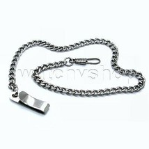 "14"" Pocket Watch Chain Fob Chain Antique Silver Link Belt Clip Men Acces... - $12.99"