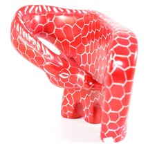 SMOLArt Hand Carved African Soapstone Rock Red African Giraffe Figure Made Kenya image 2