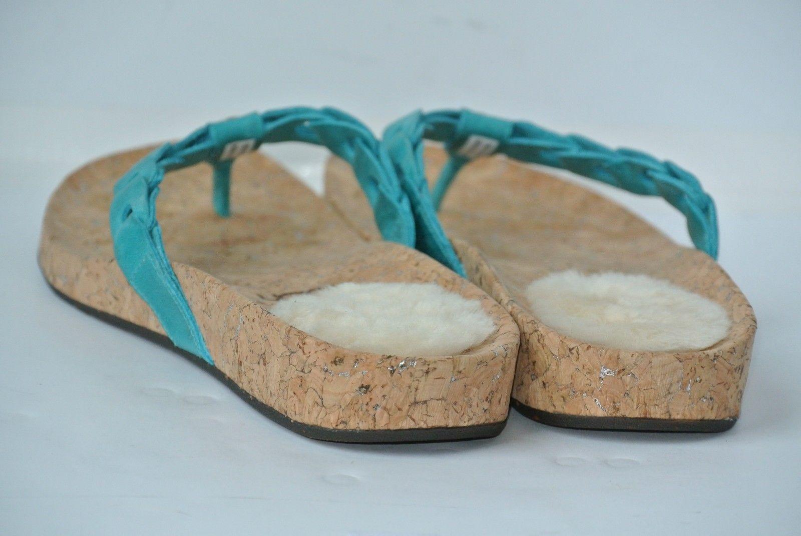 8b1f9310865b UGG AUSTRALIA Womens Sz 8 Aqua Blue Leather Flip Flop Sandals 1804 WORN ONCE