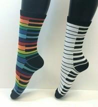 2 PAIRS Foozys Women's Socks PIANO, Black/White, Multi Color, NEW - $8.99