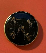 """Womens Vintage Round Scarf Clip Black Gold Baroque style 1.5"""" inches diameter  - $7.91"""