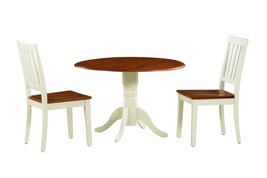 3 PIECE ROUND DINETTE KITCHEN TABLE SET WITH 2 PLAIN WOOD SEAT CHAIRS - $354.37