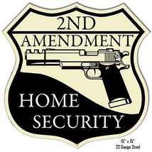 Reproduction 2ND Amendment Home Security Laser Cut Out Metal Sign 15x15 - $25.74