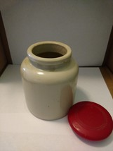 """4 3/4"""" Tall Crock with Red Lid - $22.50"""