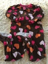 Carters Girls Brown Pink Orange Hearts Fleece Long Sleeve Pajamas 24 Mon... - $5.95