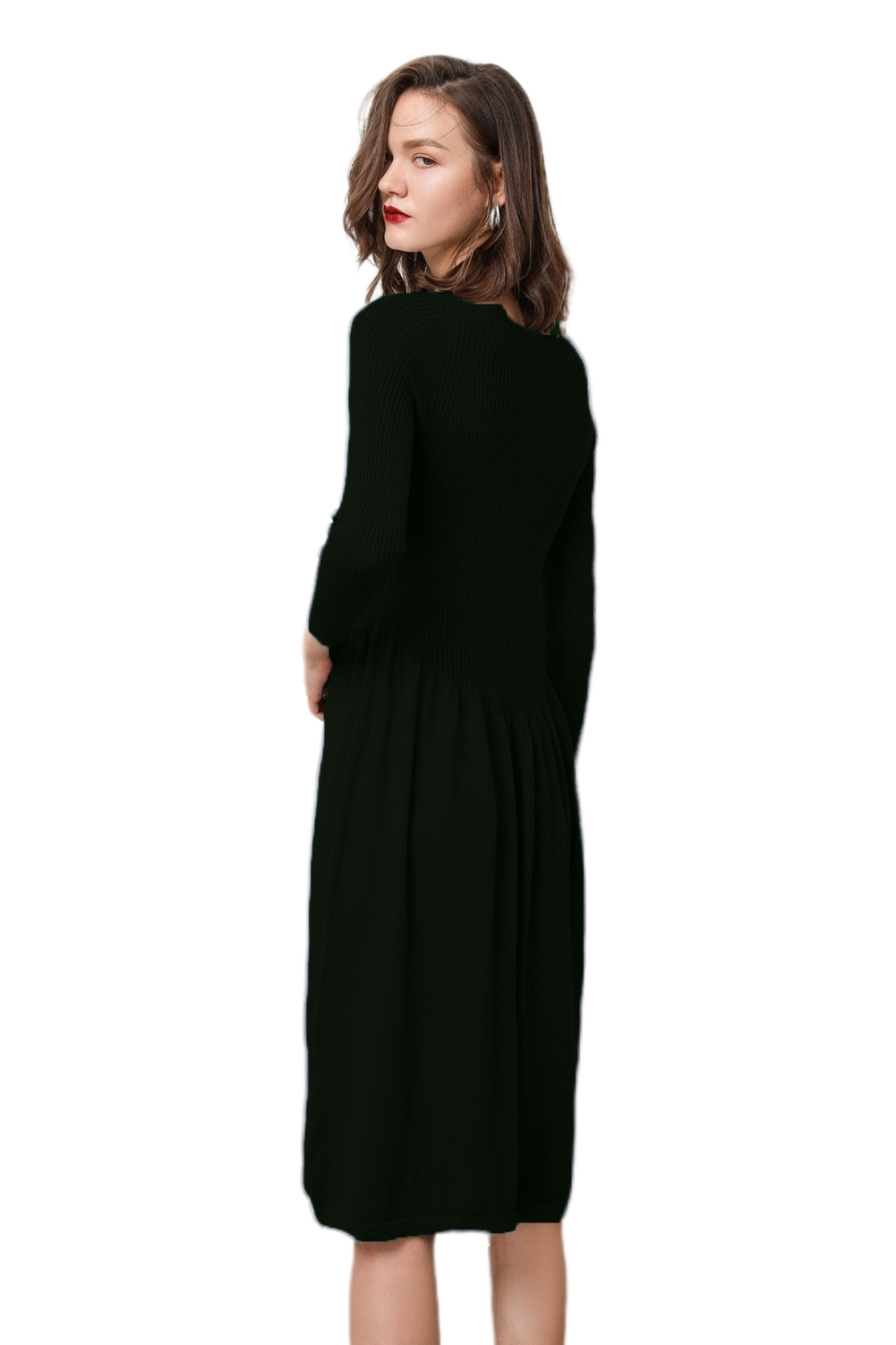 Knit Dress  Women's Cashmere Boat Neck Ribbed Elbow Fall&Winter Dresses image 3