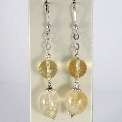 925 STERLING SILVER PENDANT EARRINGS WITH FACETED AND OVAL YELLOW CITRINE